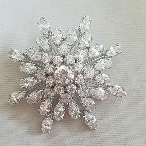 Vintage Sterling Silver Swarovski Crystal Brooch